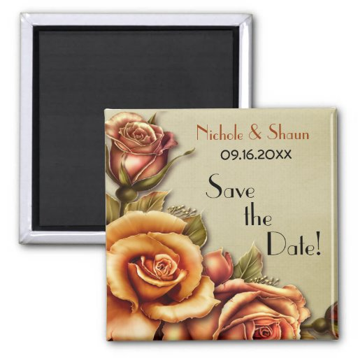 Autumn Rose Glow Floral - Save the Date Fridge Magnets