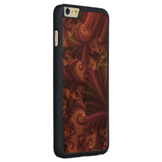 Autumn Rose Gold and Leaves Abstract Fractal Art Carved Maple iPhone 6 Plus Case