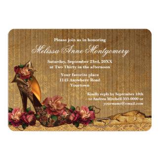Autumn Roses and High Heels Bridal Shower 13 Cm X 18 Cm Invitation Card