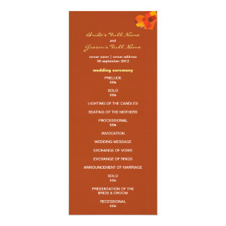 Autumn rust Wedding Program 10 Cm X 24 Cm Invitation Card