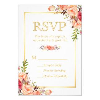 Autumn Rustic Orange Flowers Chic Gold RSVP 9 Cm X 13 Cm Invitation Card