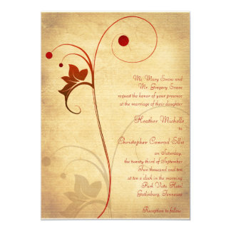 Autumn Rustic Vine Berries Wedding Invitation