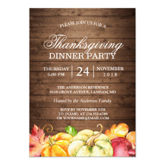 Autumn Rustic Wood | Thanksgiving Dinner Party Card