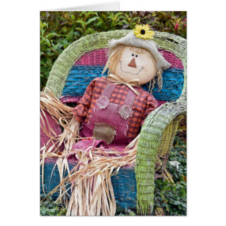 Autumn scarecrow in wicker chair card