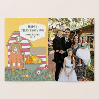 Autumn Scenes Photo Thanksgiving Foil Card