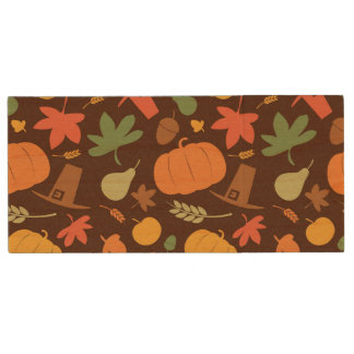 Autumn seamless background, Thanksgiving day. Wood USB 2.0 Flash Drive