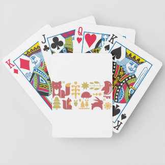 Autumn seamless pattern with cute cartoon forest a bicycle playing cards