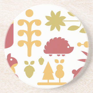 Autumn seamless pattern with cute cartoon forest a coaster