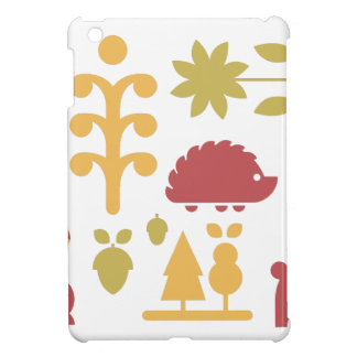 Autumn seamless pattern with cute cartoon forest a iPad mini case