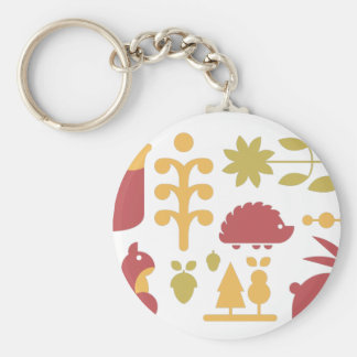 Autumn seamless pattern with cute cartoon forest a key ring