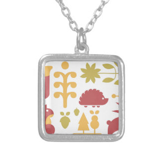 Autumn seamless pattern with cute cartoon forest a silver plated necklace