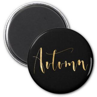 Autumn Season Planner Black Gold Glam Script VIP 6 Cm Round Magnet