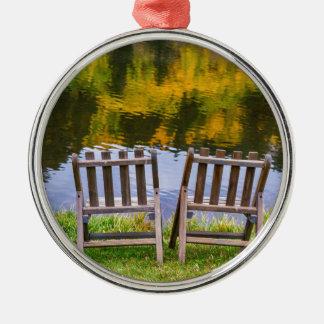 Autumn Season Romantic Lake View For Two Silver-Colored Round Decoration