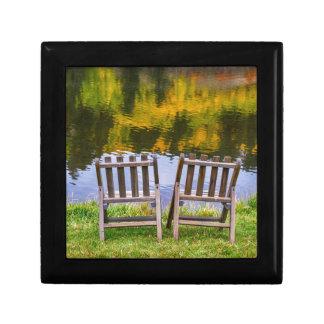 Autumn Season Romantic Lake View For Two Small Square Gift Box