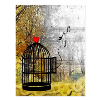 Autumn song with bird cage and he postcard