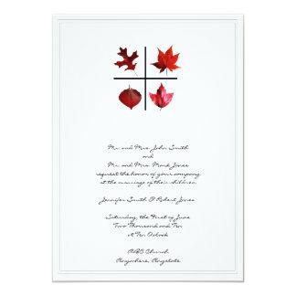 Autumn Square - Fall Leaf design in Red Orange 5x7 Paper Invitation Card
