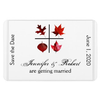 Autumn Square Fall Leaf Wedding Save the Date Rectangular Photo Magnet