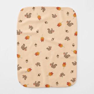 Autumn Squirrel Baby Burp Cloth