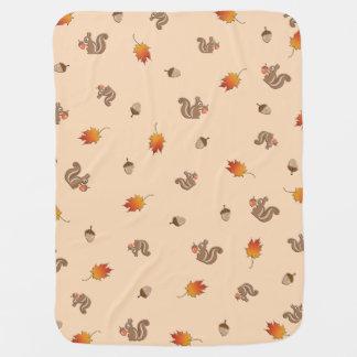 Autumn Squirrel Receiving Blankets
