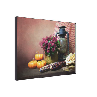 Autumn Still Life With Lantern, Mums and Pumpkins Canvas Print
