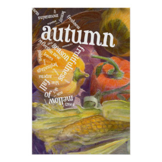 Autumn Still Life with Word Art Poster