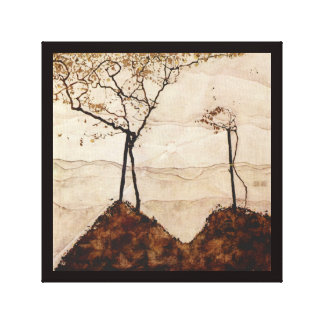 Autumn Sun and Trees by Egon Schiele Stretched Canvas Print