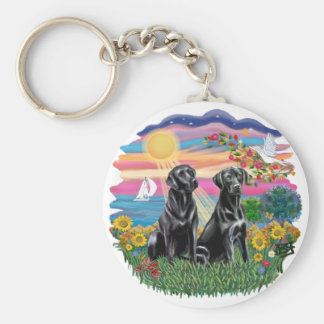 Autumn Sun - Two Black Labs Key Ring
