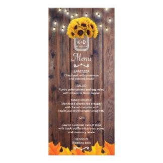 Autumn Sunflower Jar Rustic Fall Wedding Menu