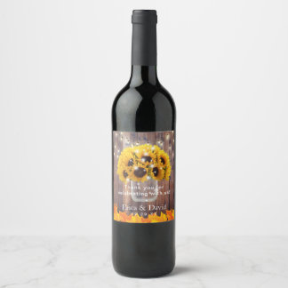 Autumn Sunflower Jar String Lights Rustic Wedding Wine Label