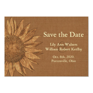 Autumn Sunflower Save the Date 13 Cm X 18 Cm Invitation Card