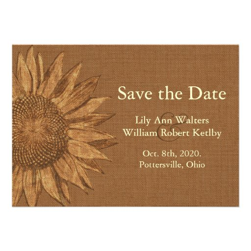 Autumn Sunflower Save the Date Personalized Invite