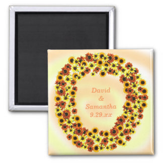 Autumn Sunflowers Save the Date Wedding Magnets