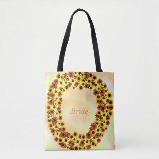 Autumn Sunflowers Wreathe Bride Tote Bags