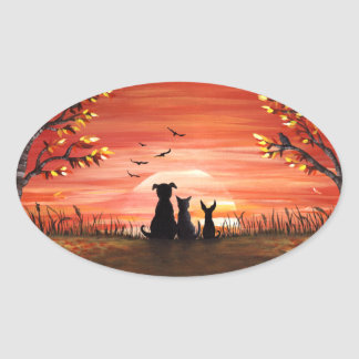 Autumn Sunset Dogs and Cat Pets Oval Sticker
