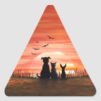 Autumn Sunset Dogs and Cat Triangle Sticker