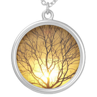 Autumn Sunset Round Pendant Necklace