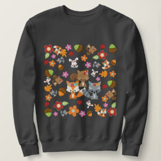 Autumn Theme Woodland Animals Pattern Sweatshirt