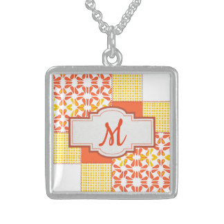 Autumn Tints Quilt Block Pattern Sterling Silver Necklace