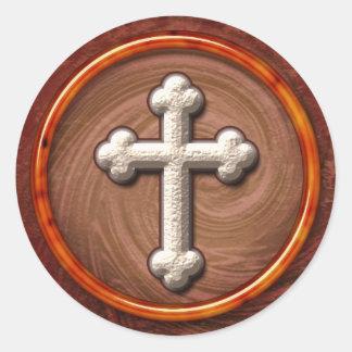 Autumn Tone Budded Cross Round Sticker