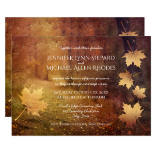 autumn trail falling maple leaves rustic wedding card