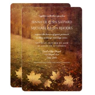autumn trail maple leaves rustic wedding card