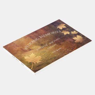 autumn trail maple leaves wedding memories guests guest book