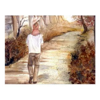 Autumn Trail Watercolor Painting Postcard