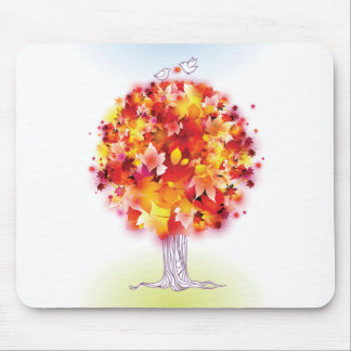 Autumn Tree And Cute Birds In Love Mouse Pad