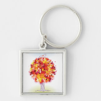 Autumn Tree And Cute Birds In Love Silver-Colored Square Key Ring