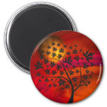 Autumn Tree and Moon Abstract Art 6 Cm Round Magnet