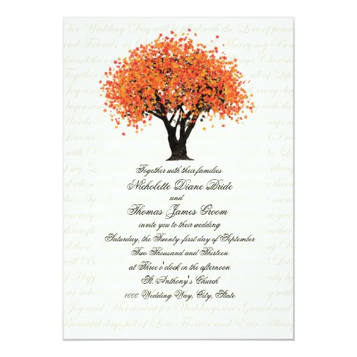 Autumn Tree Dancing Blooms Wedding Personalized Invitation