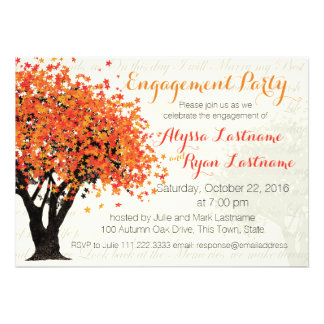 Autumn Tree Engagement Party Personalized Announcement
