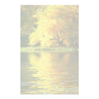 Autumn tree in the forest with reflection customized stationery