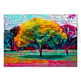 Autumn tree in vivid colors card
